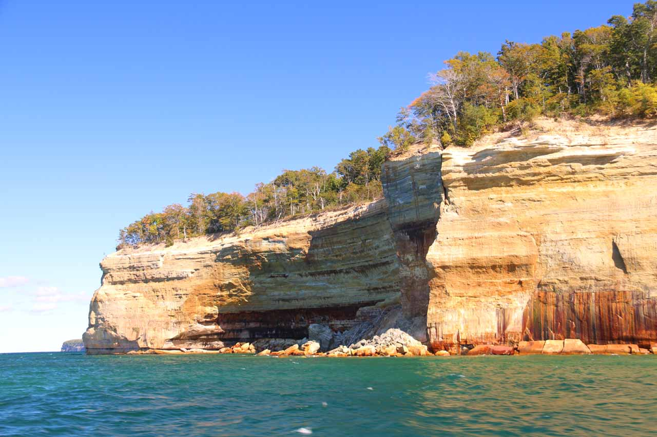 Some crumbling parts of the Pictured Rocks Cliffs