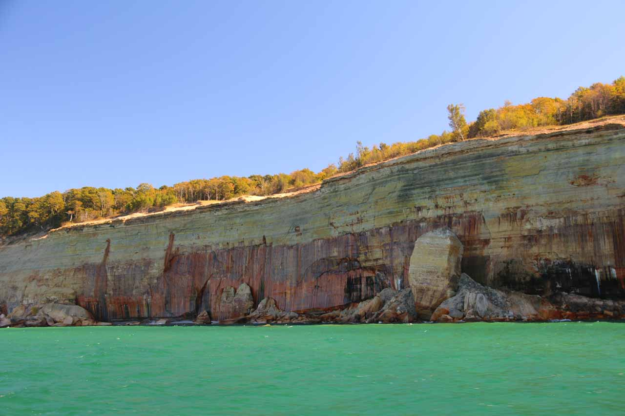 Still more streaks and patterns on the Pictured Rocks cliffs