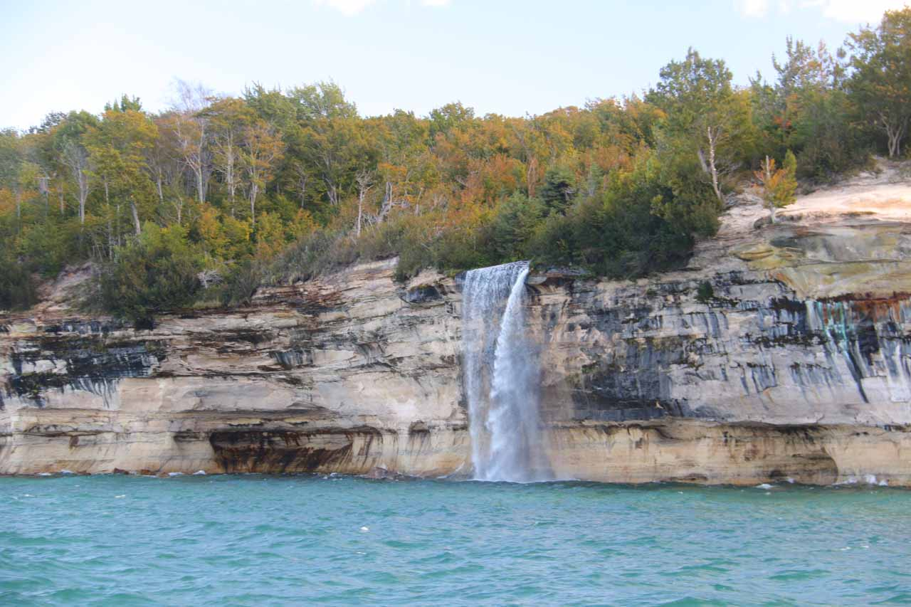 The front of Spray Falls seen directly from the boat