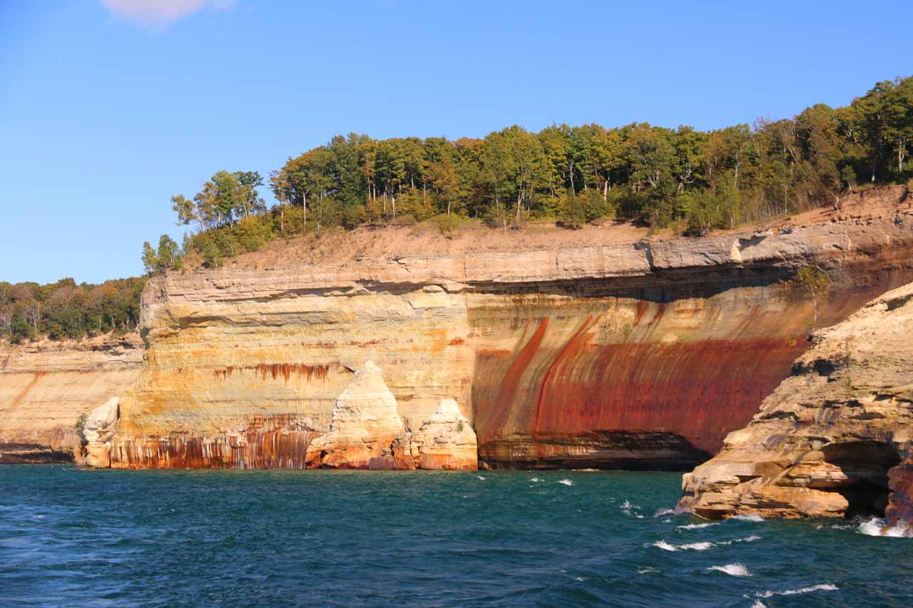 Pulling away from perhaps the most attractive and colorful part of the Pictured Rocks