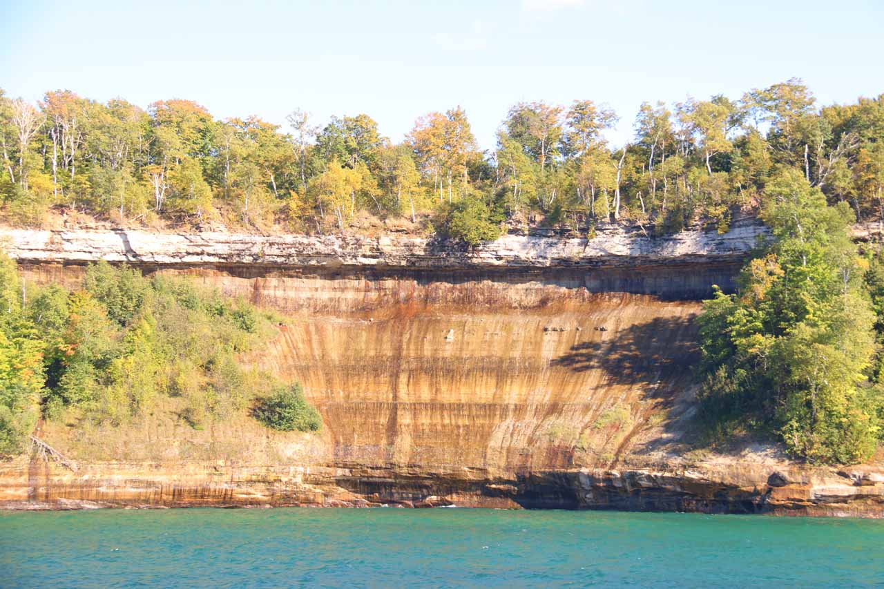 Last look at a well-patterned part of the Pictured Rocks cliffs in nice late arvo light