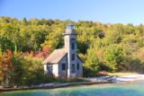 Pictured_Rocks_cruise_548_09302015 - Closer look at the interesting Grand Island East Channel Lighthouse on the return part of the Pictured Rocks Cruise en route to Munising