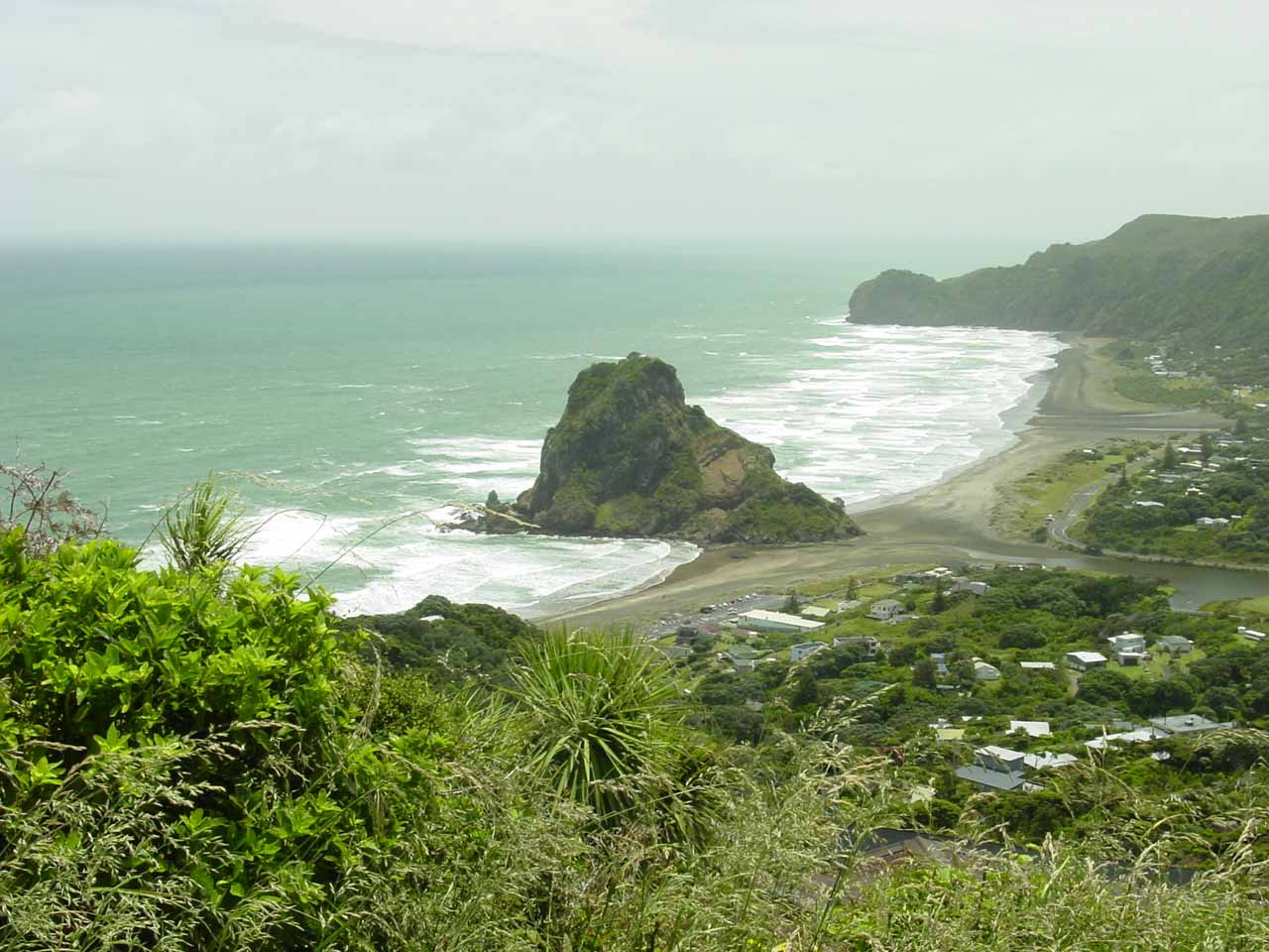 Between Kitekite Falls and Karekare Falls was this gorgeous view of Lion's Rock and Piha Beach on Piha Rd