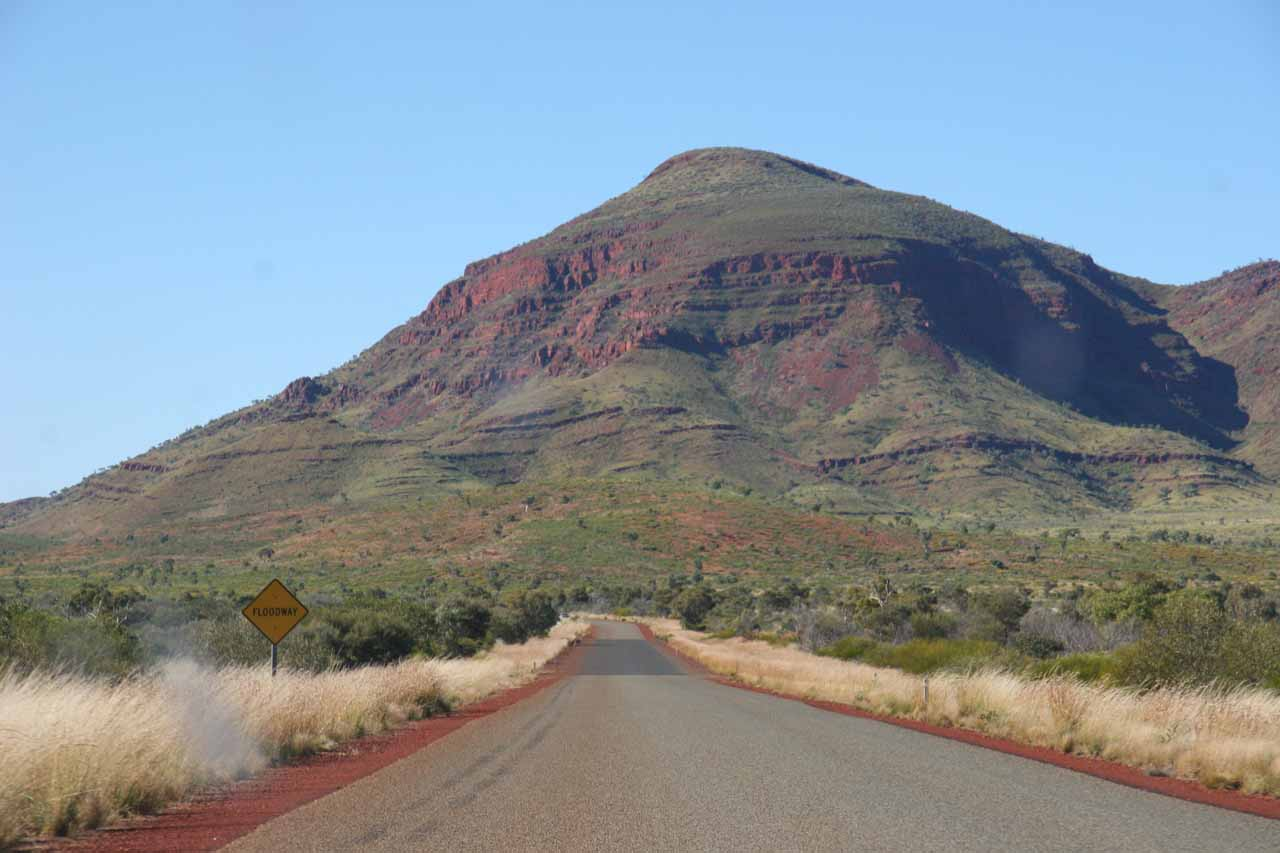 Driving on the paved part of Banjima Drive in Karijini National Park