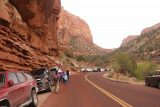 Pine_Creek_Falls_004_04042018 - On our latest visit in April 2018, it was Spring Break, and the parking situation was crazy.  Amazingly, the cars clogging all the pullouts and shoulders nearest the Pine Creek Wash were for the Zion Canyon Shuttles!