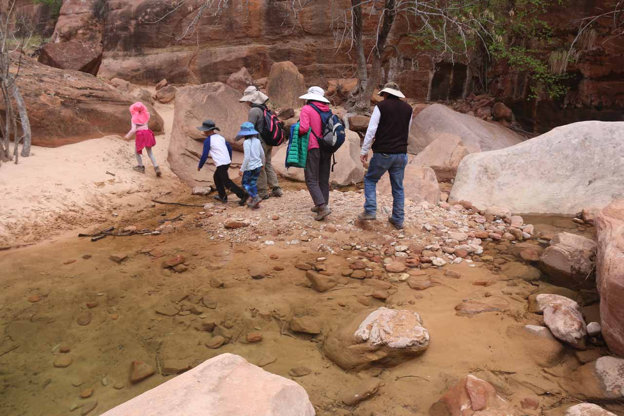 This was one of the minor crossings of Pine Creek, where we had to give the kids a little help