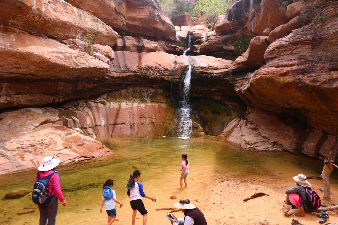 The family enjoying a well-earned visit to the Pine Creek Falls in Zion National Park