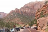 Pine_Creek_Falls_193_04042018 - Looking ahead at the crazy parking situation that stretched all the way towards the Zion Canyon turnoff and the Watchman Campground area