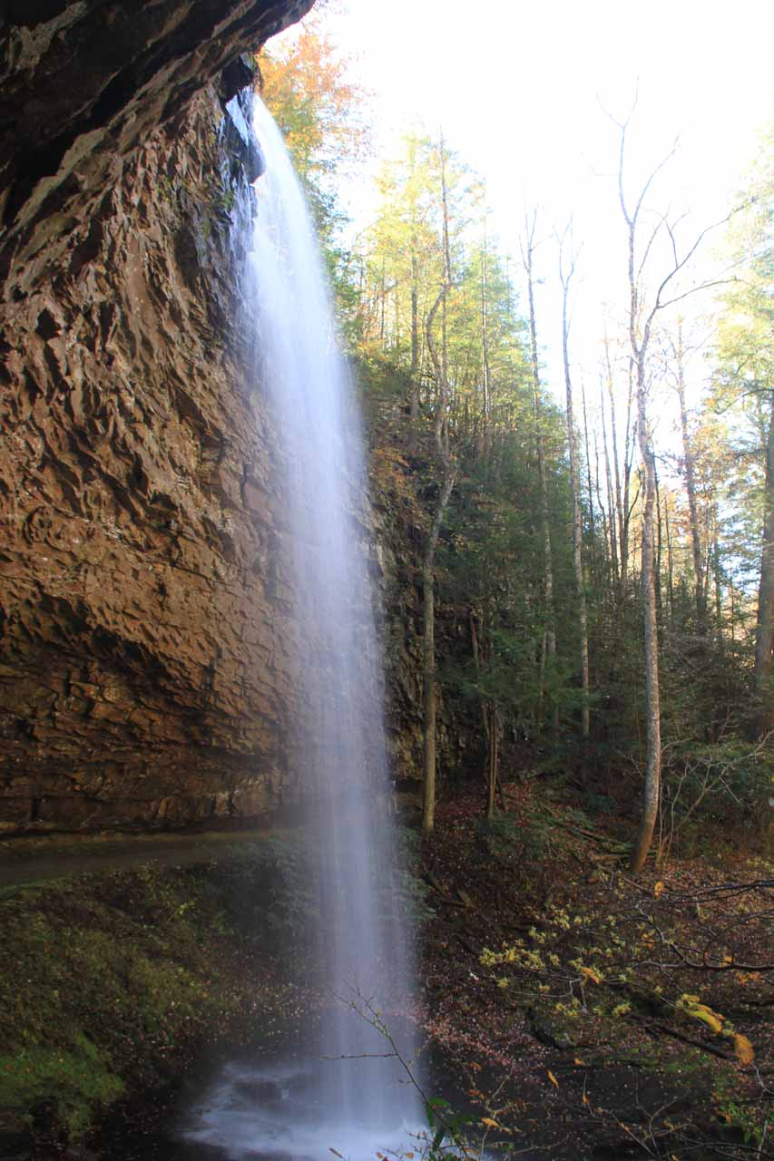 Looking up from behind Upper Piney Falls