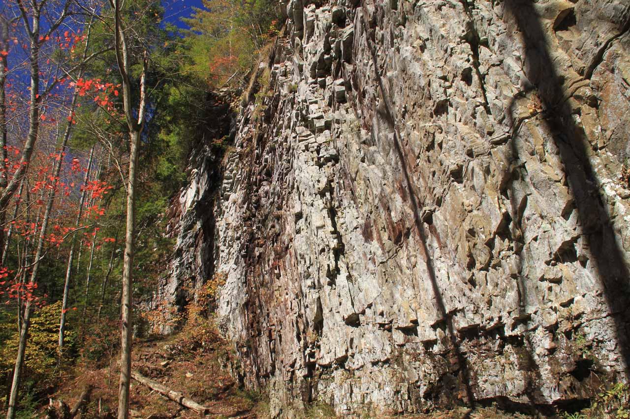 Interesting cliffs by Upper Piney Falls