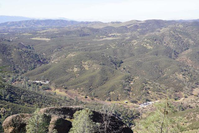 Pinnacles_NP_421_02232020 - Looking down at the parking lots on the western side of Pinnacles National Park from the High Peaks Trail at the very top of the park. This is why you can't drive directly from east to west through the park
