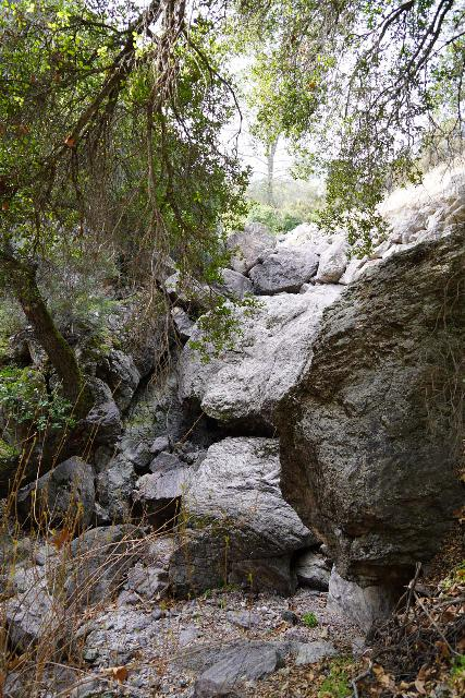 Pinnacles_NP_588_02232020 - This was the view of the dry Bear Gulch Falls from where Ann Marie Brown would have taken her photo of it flowing in her California Waterfalls book