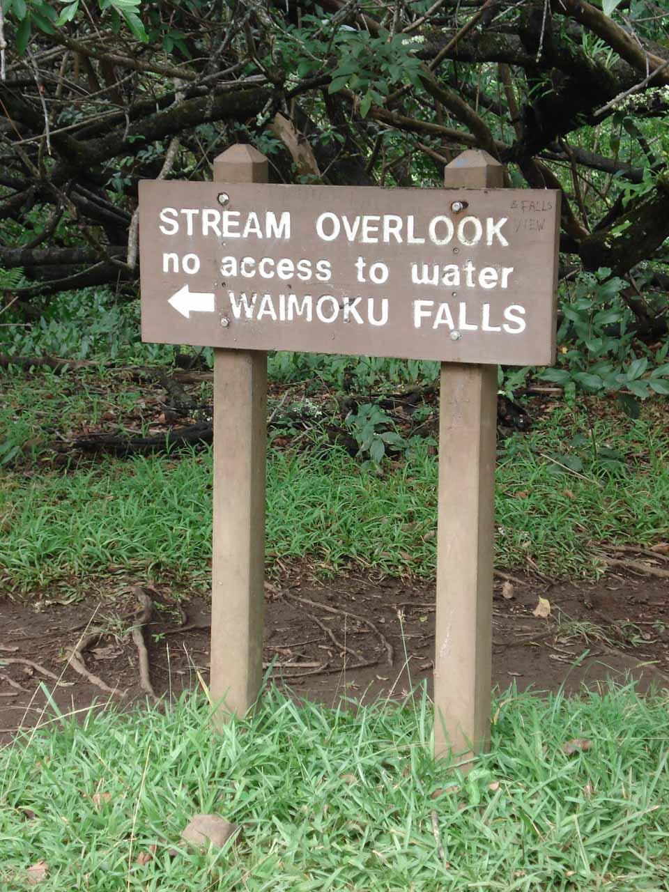 Stream Overlook sign