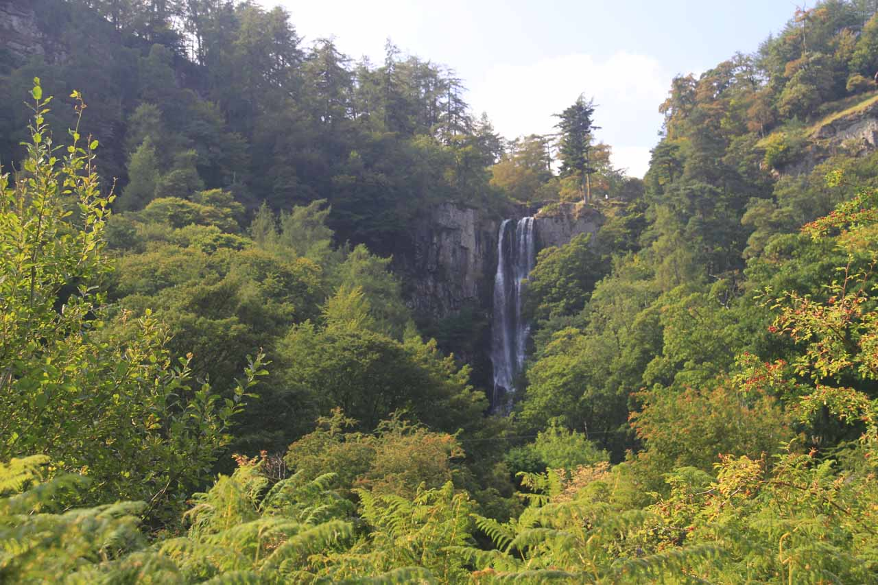 Getting our first glimpses of the uppermost tier of the impressive Pistyll Rhaeadr waterfall