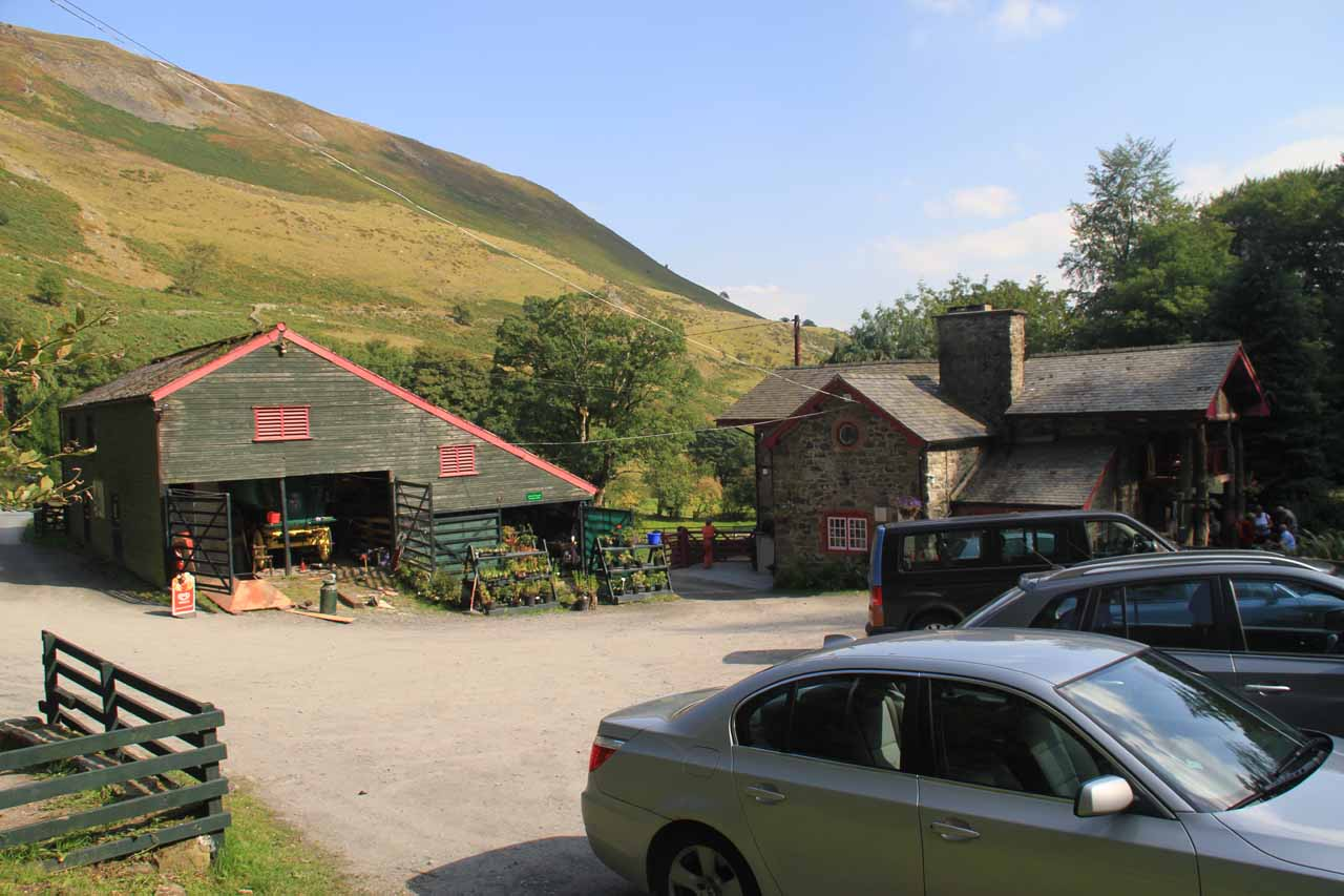 At the car park for Tan-y-Pistyll tea room and bed and breakfast