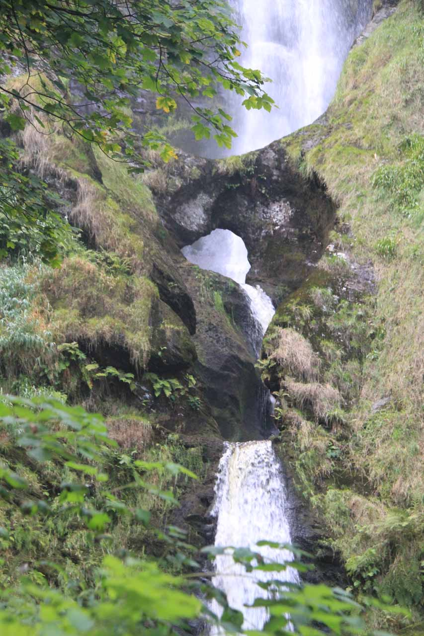 Taking a closer look at that natural bridge spanning the Afon Rhaeadr right in the middle of the falls