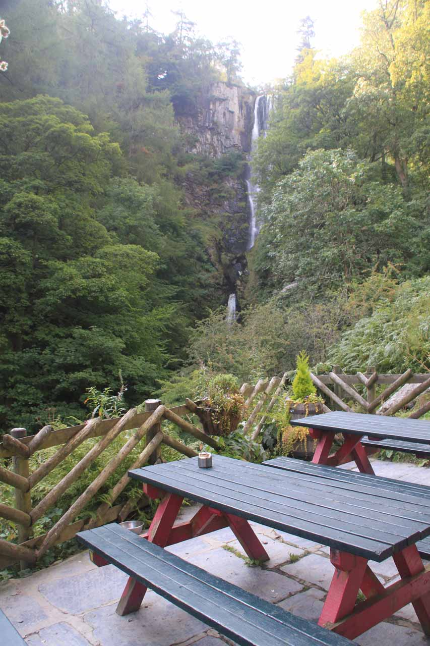 View of Pistyll Rhaeadr from the tables at the Tan-y-Pistyll Tea Room