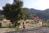 Placerita_Canyon_008_01192019 - Julie and Tahia approaching the gate at the Walker Ranch Trailhead