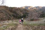 Placerita_Canyon_031_01192019 - Julie and Tahia continuing on the Waterfall Trail, which remained mostly flat and out in the open