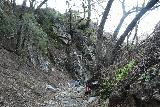 Placerita_Canyon_134_01192019 - Tahia and Julie making their way back downstream after having our fill of the Placerita Creek Falls