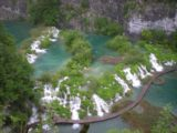 Plitvice_005_jx_05312010 - Looking down at the Velike Kaskade and the boardwalk fronting it from the rim of the gorge above the Lower Lakes of Plitvice National Park