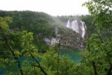 Plitvice_006_05312010 - Distant view of the Veliki Slap, which was the largest of the Plitvice Waterfalls that we encountered. It was swollen as a result of the heavy rains that we experienced on the first day of our visit to the Plitvice Lakes