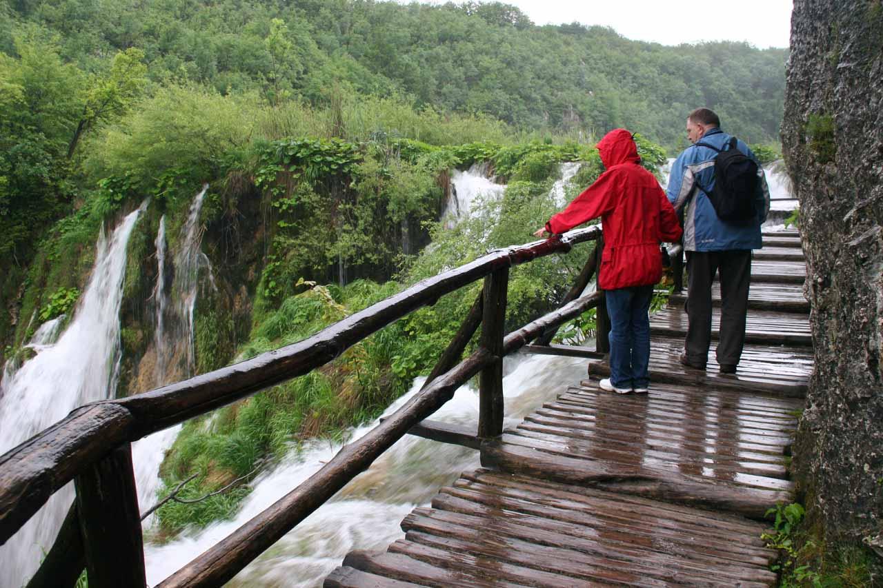 Walkway climbing alongside one of the Plitvice Waterfalls