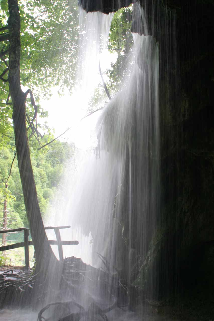 Behind one of the large waterfalls draining Galovac
