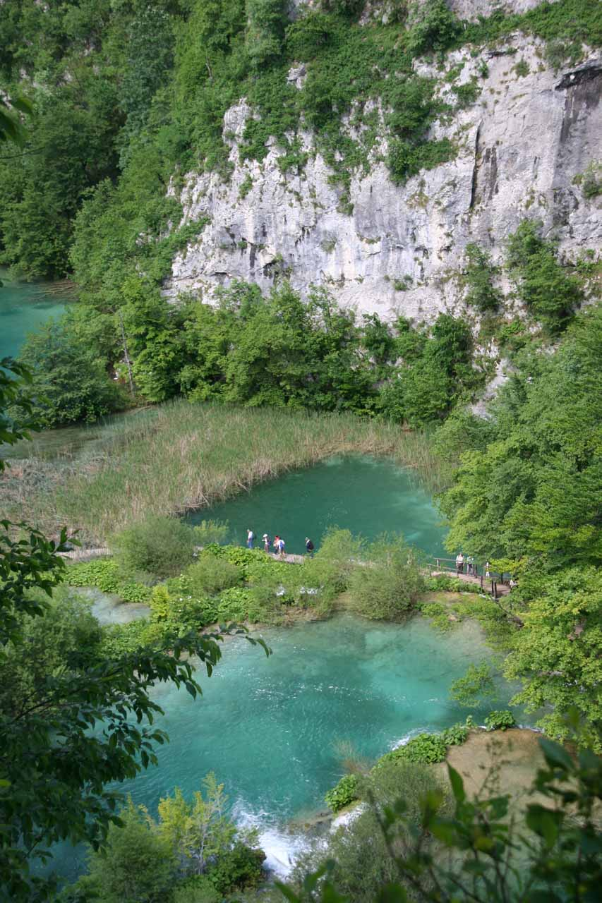 Looking straight down at the colorful and clear lakes