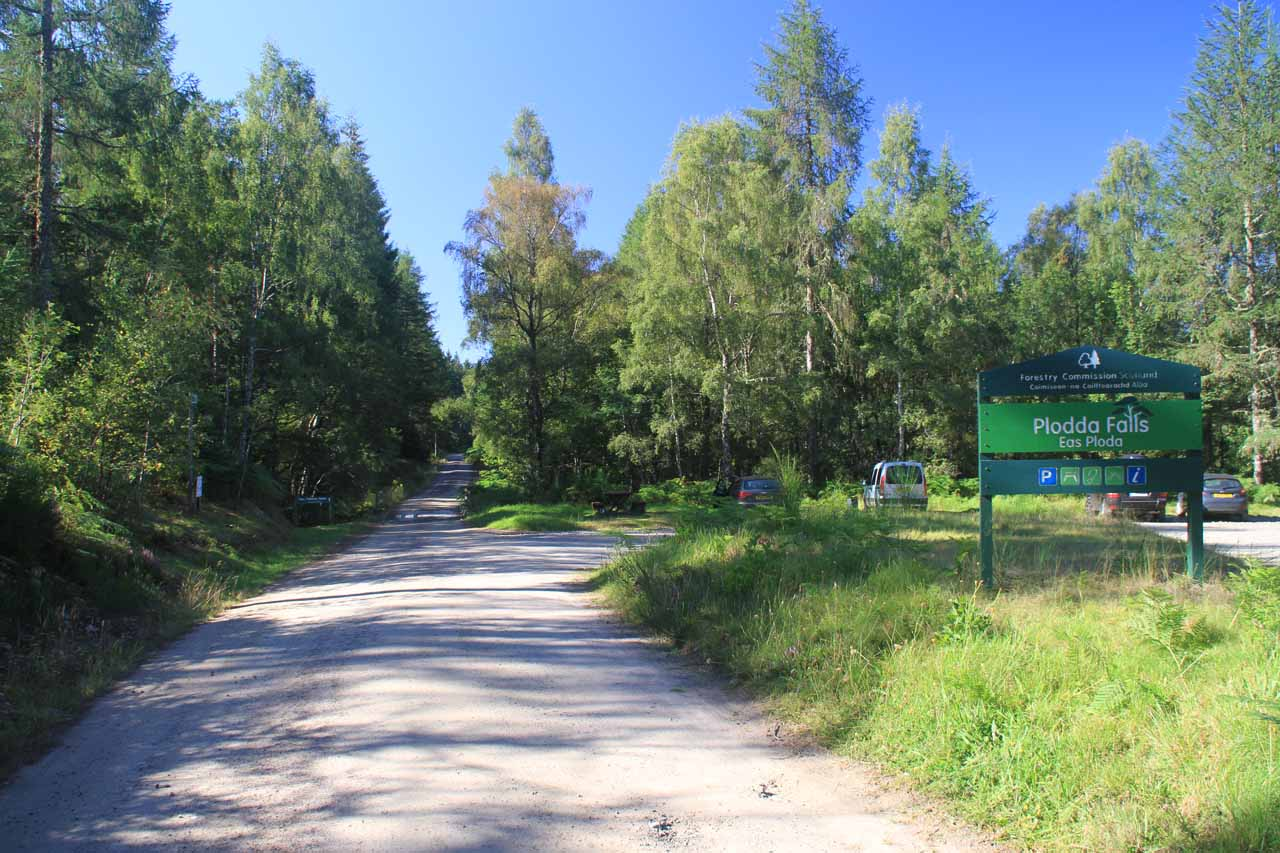 The well-signed car park for Plodda Falls after driving a single-lane road for 6 miles of which the last 2 were somewhat unpaved and bumpy