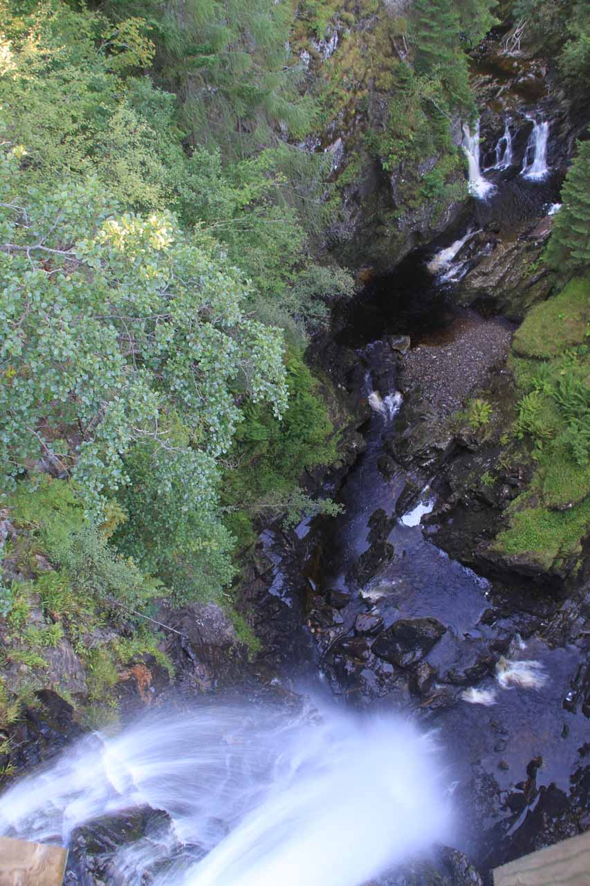 Looking right down at the main drop of Plodda Falls with a smaller cascade further downstream at the top of this photo