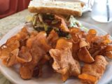 Pocatello_008_iPhone_08152017 - A pretty delicious sandwich with sweet potato chips served up at the Healthier Place to Eat in downtown Pocatello