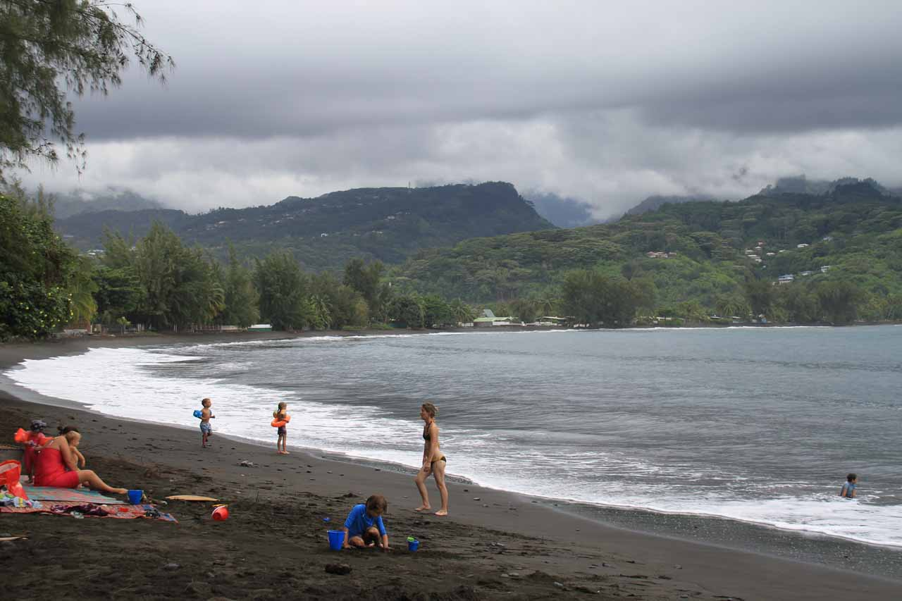 Although the weather was atrocious when we visited Tahiti Nui in December 2012, that didn't stop some folks from having fun at Point Venus' black sand beach, which was on the way to Faarumai