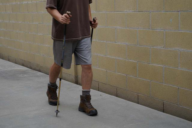 The proper walking motion with trekking poles is to swing the arms opposite the legs. You may notice that if you don't do this, the walking becomes awkward and unbalanced pretty quickly