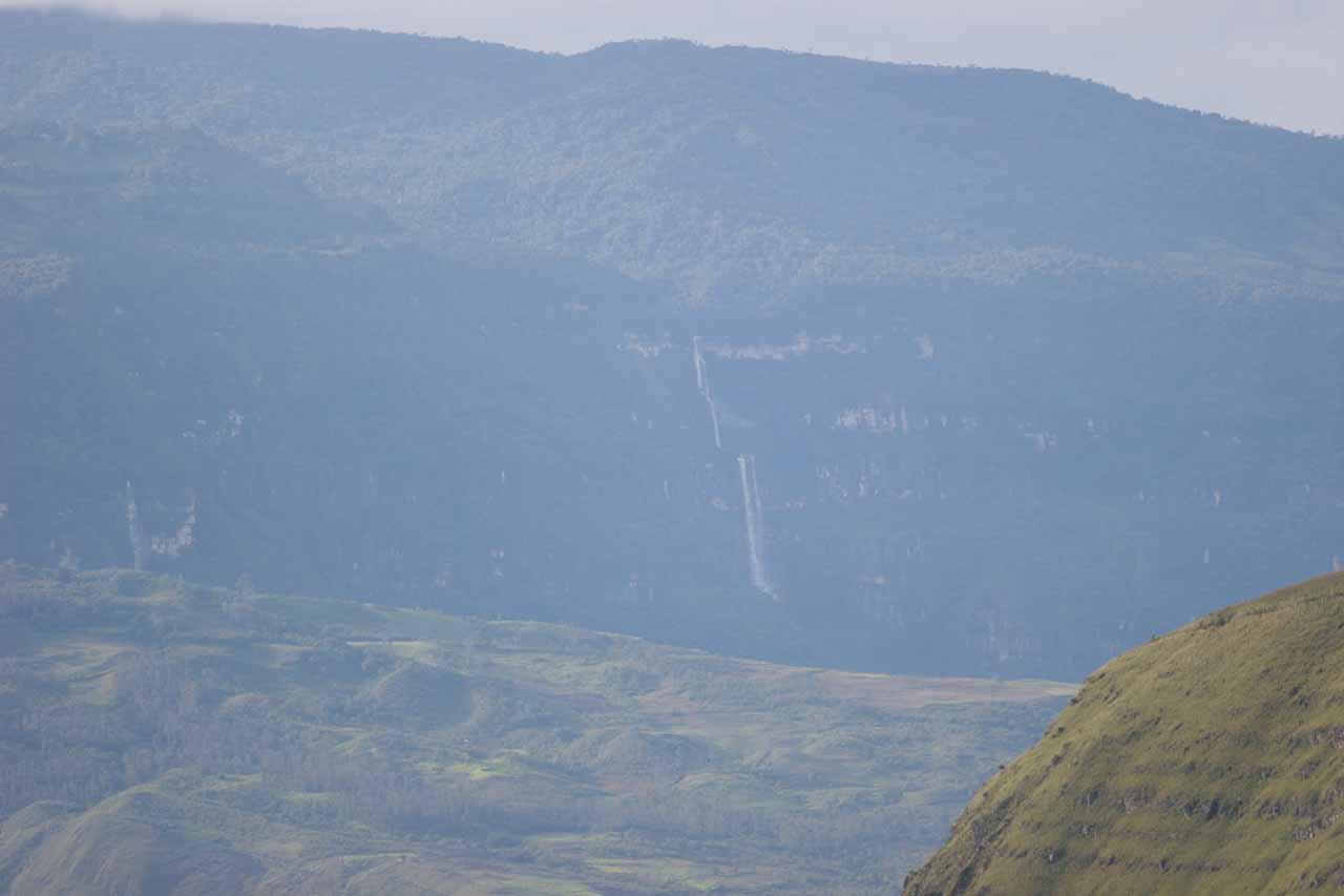 Distant view of Cascata de Chinata from the road back to Pomacochas