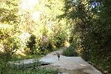Pomponio_Falls_018_04222019 - Julie on the concrete ford over Pescadero Creek