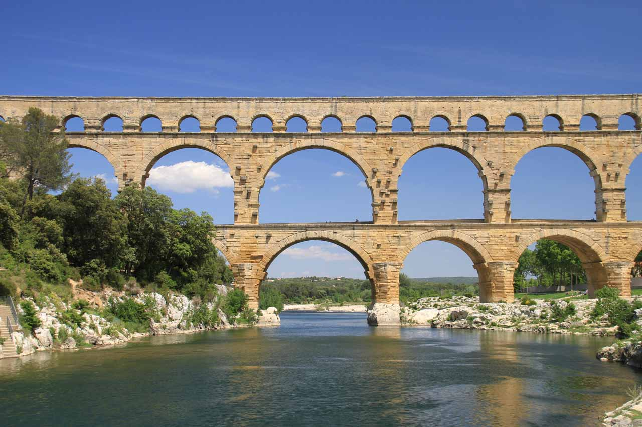 About a half-hour drive or so west of Avignon was the Pont du Gard, which was an ancient Roman aqueduct (though was since restored).  We really had to work hard to fit in a visit to Sillans-La-Cascade