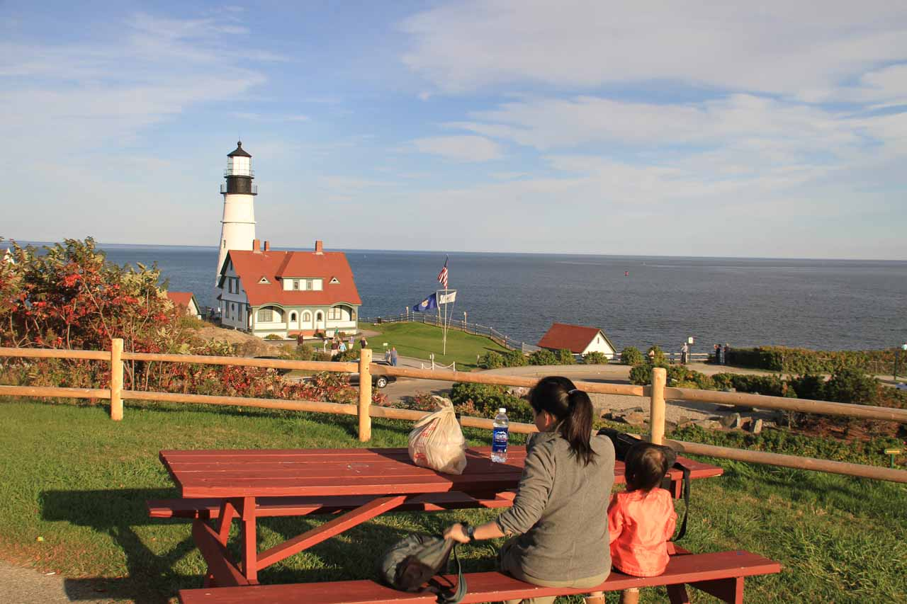 Another place where our waterfalling adventures took us was to New England where we also got to enjoy a lobster roll picnic with a view of the Portland Head Lighthouse in Maine