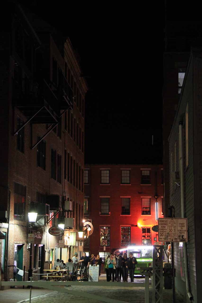 Some other alleyway with a lot of commotion in Portland, ME