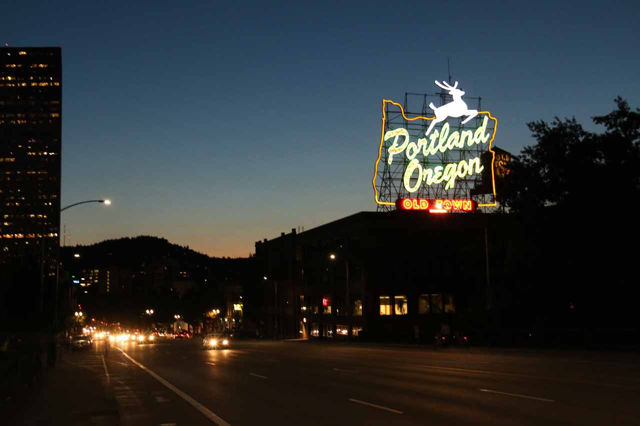 About 90 minutes drive to the east of Tillamook was the city of Portland, where this sign was one of its iconic features