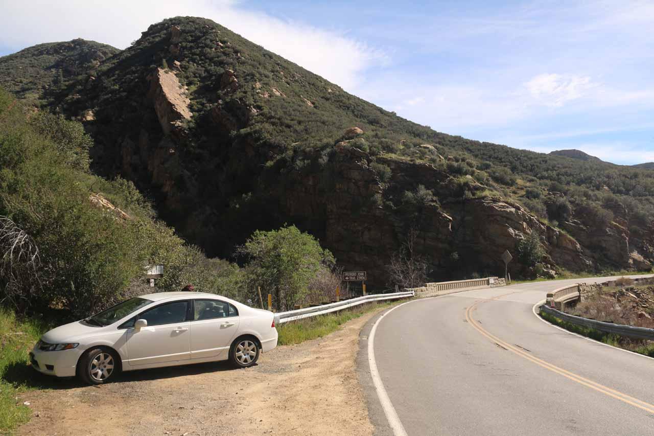 The Portrero John Trailhead besides the Maricopa Hwy 33