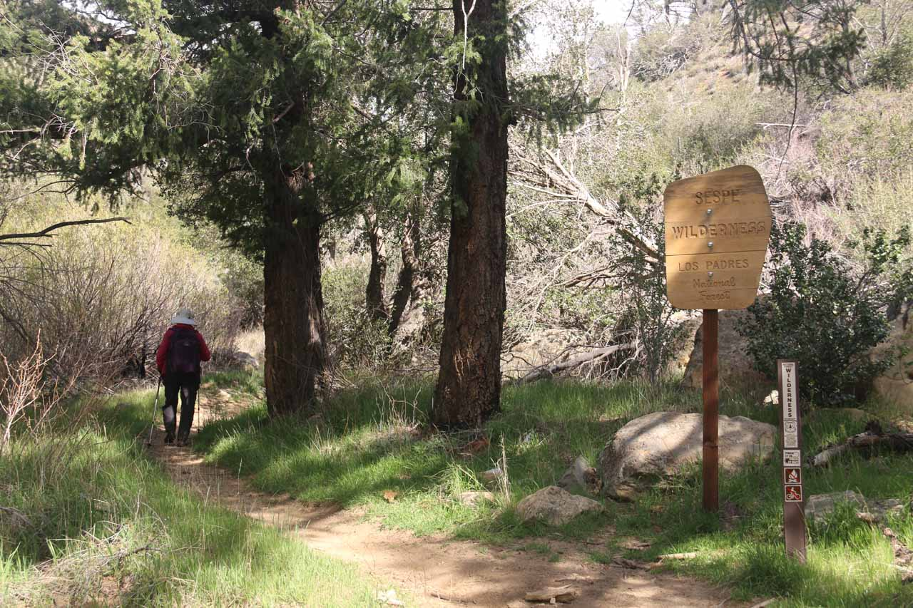 Entering the Sespe Wilderness after perhaps the third creek crossing
