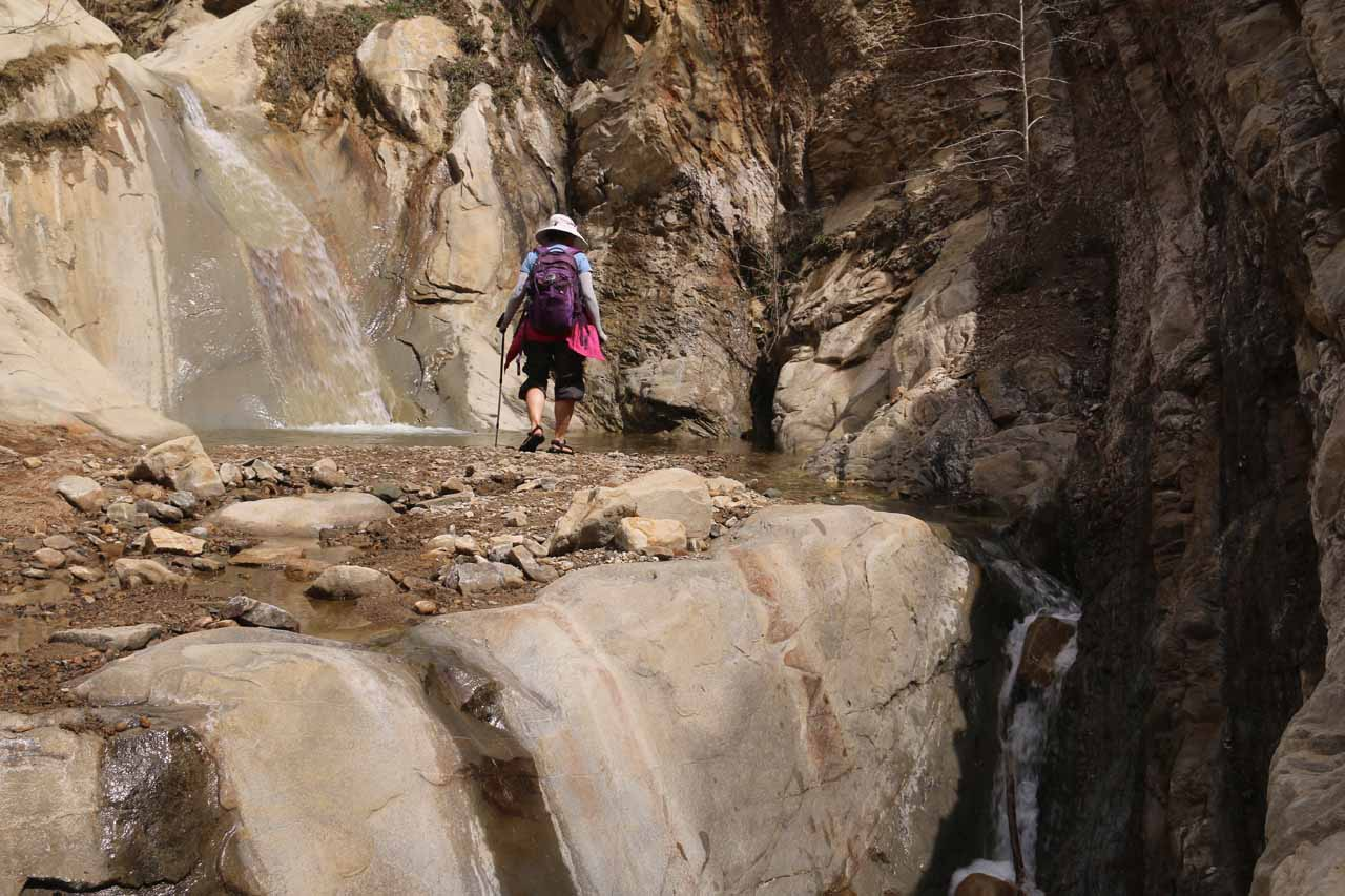 Mom approaching the lower drop of Portrero John Falls