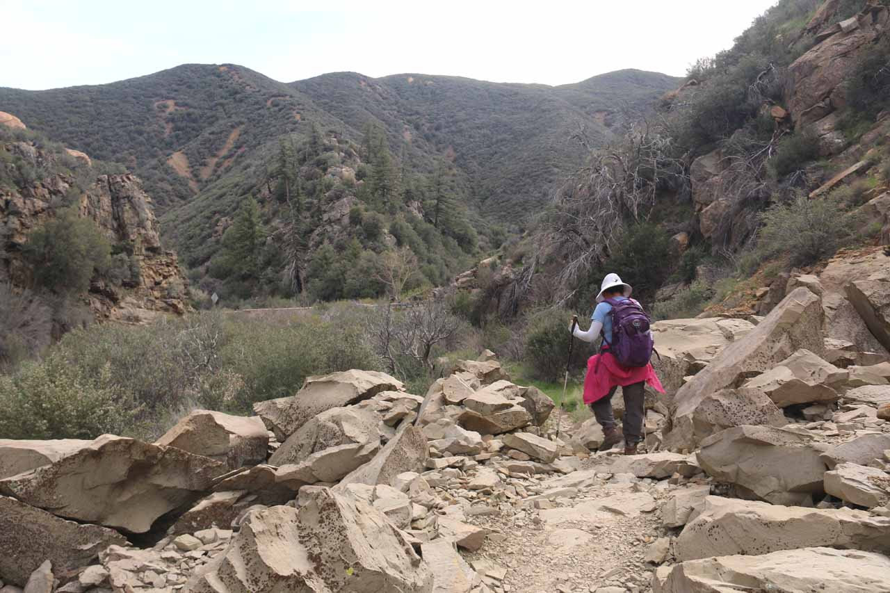 Back at the rockfall obstacle near the trailhead