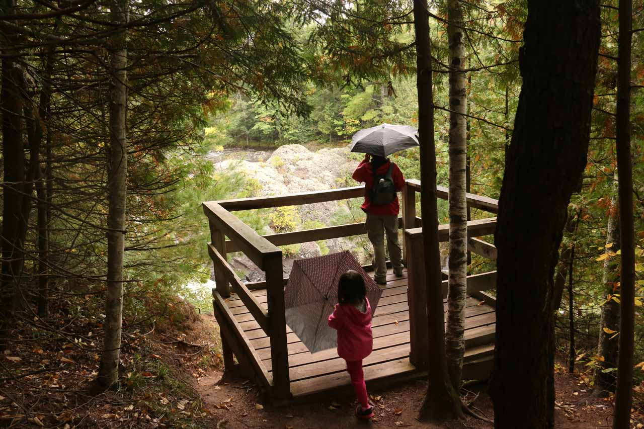 Julie and Tahia checking out the Upper Potato Falls from the lookout deck at the bottom of the steps