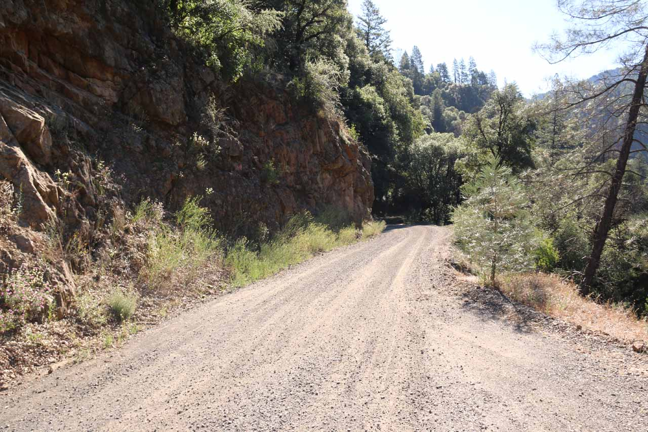 Looking back at the unpaved road leading to the unsigned pullout for Potem Falls