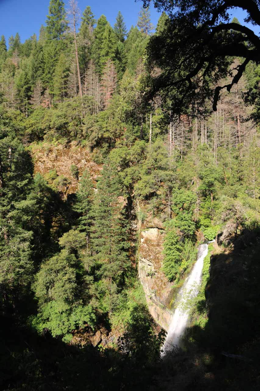 Angled look down at Potem Falls from that first switchback