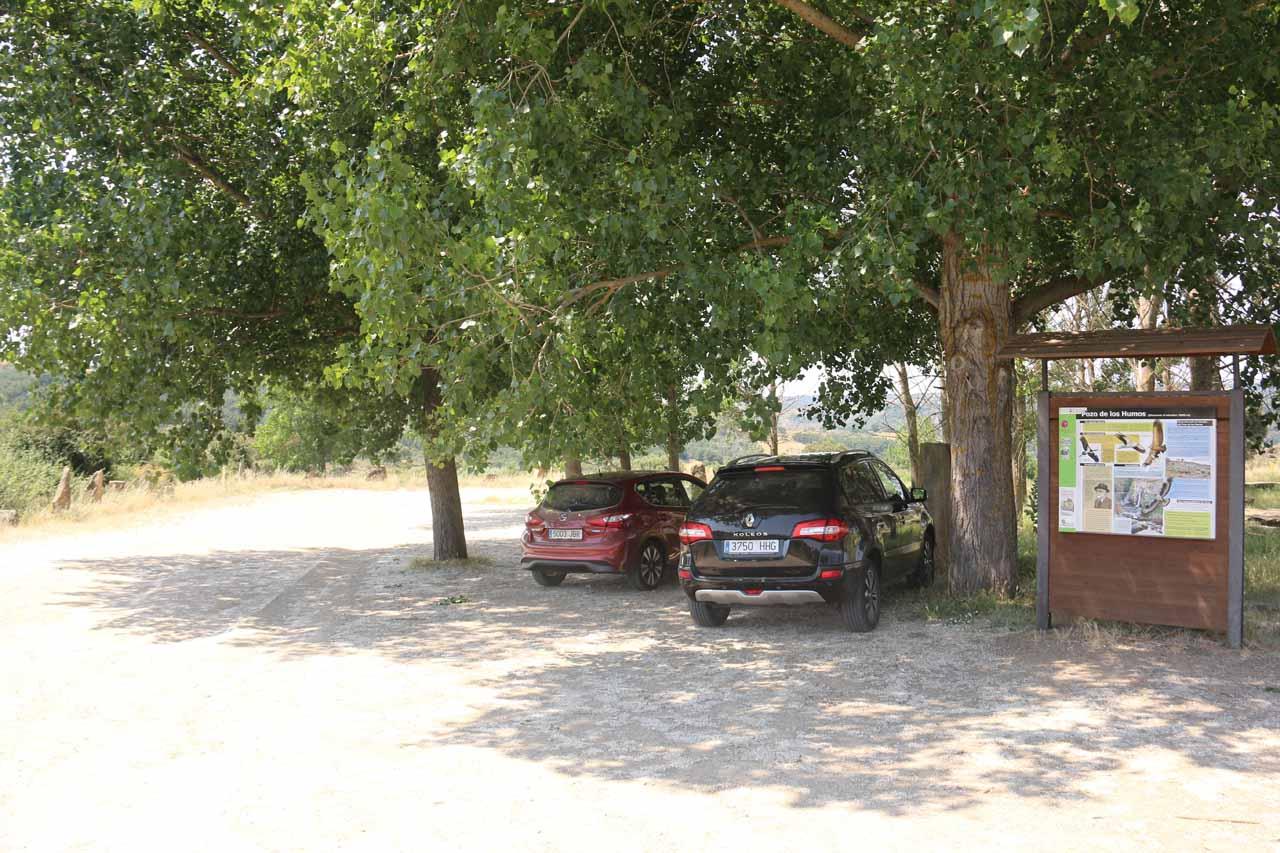 At the more developed car park and picnic area for Pozo de los Humos from the Pereña de la Ribera side