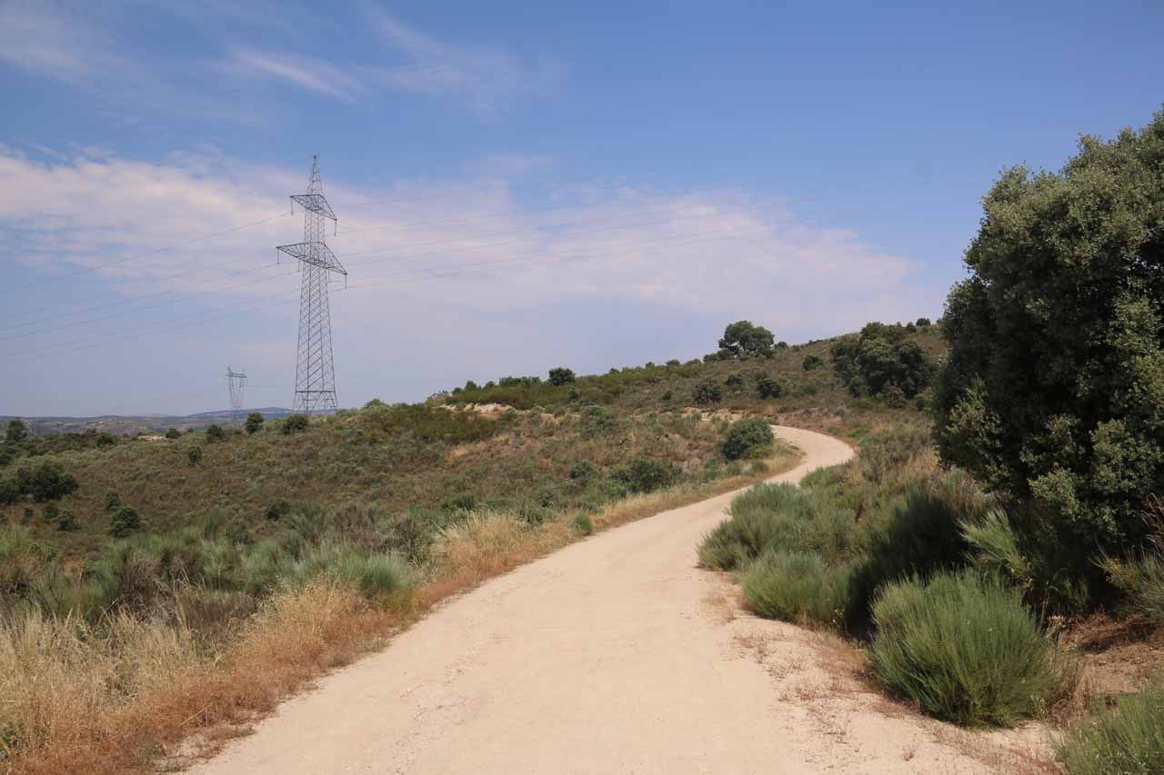 The hike on the Pereña side was open and very exposed to the hot sun as it passed beneath power lines and power pylons