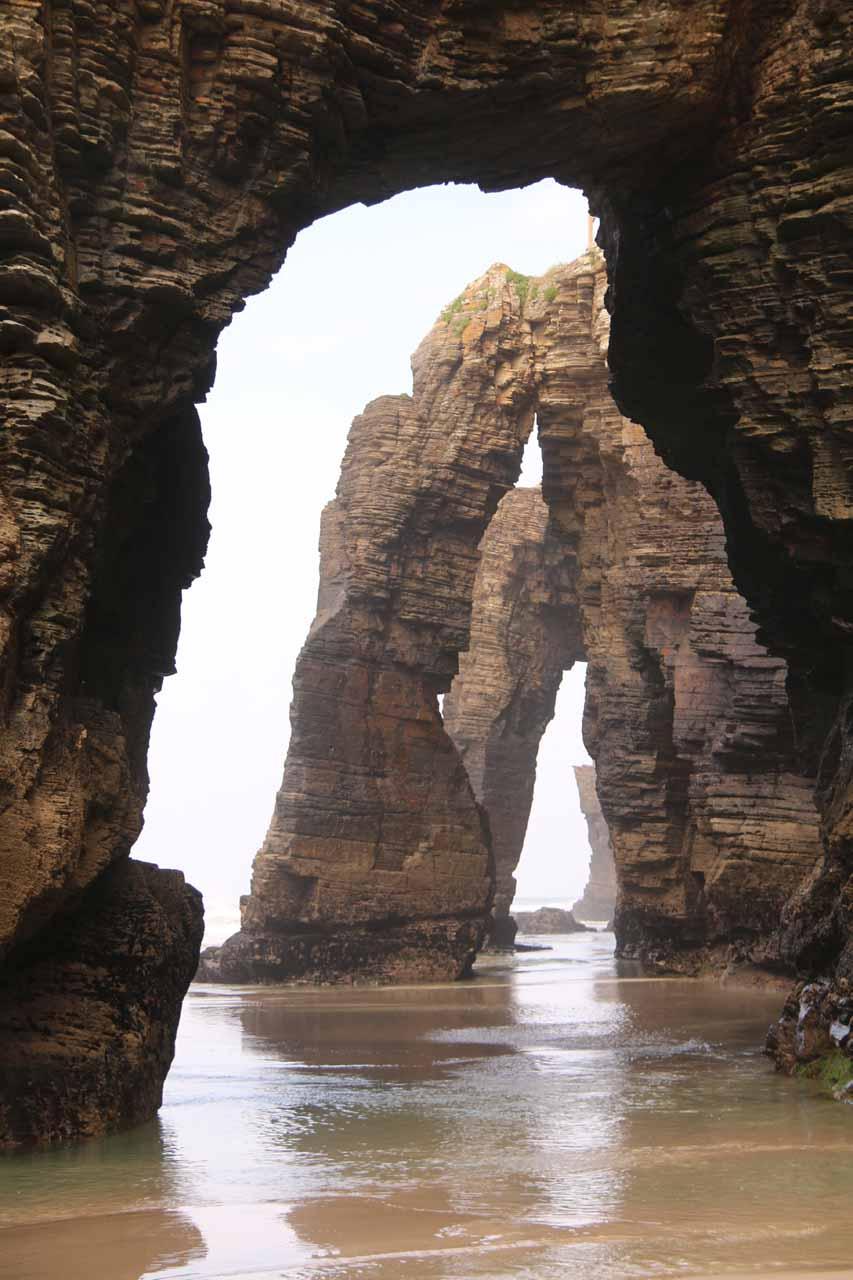 An even more familiar postcard shot of the triple arches at Praia As Catedrais